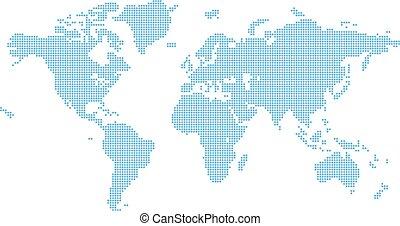 octagons, płaski, mapa tło, świat