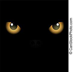 oczy, czarne tło, żółty