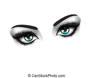 oczy, fason, oko, piękno, concept., dwa, tło, biały