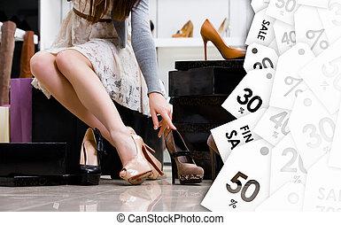 oczyszczenie, rozmaitość, shoes., sprzedaż, samica, nogi
