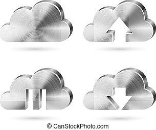 oczyszczony szczotką metal, chmura, ikony