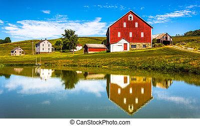 odbicie, dom, pennsylvania., york, hrabstwo, mały, wiejski, staw, stodoła
