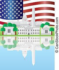 odbicie, punkty orientacyjny, waszyngton dc, na bandera