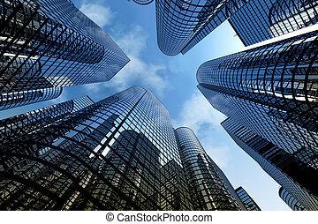 odbijający, drapacze chmur, handlowe biuro, zabudowanie.