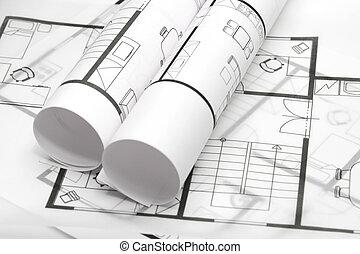 odbitki światłodrukowy, architektura