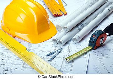 odbitki światłodrukowy, narzędzia, architektura
