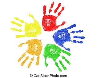 odciski, barwny, ręka