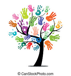 odciski, wektor, drzewo, barwny, ręka