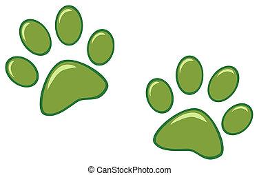 odciski, zielony, łapa