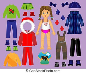odegrajcie wystawiają, zima, lalka, papier, 3., creativity., część, odzież