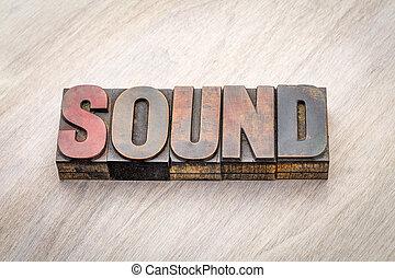 odgłos, typ, abstrakcyjny, drewno, słowo
