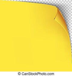 odizolowany, żółty, template., papier, tło, róg, ufryzować, grid., przeźroczysty, opróżniać, strona