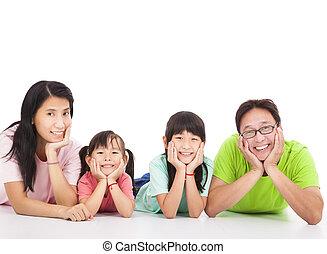 odizolowany, biała rodzina, szczęśliwy, asian