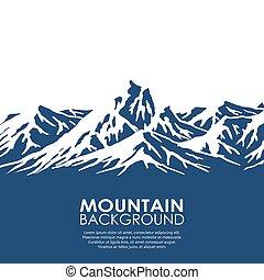odizolowany, białe tło, skala, góra