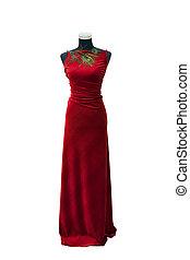 odizolowany, elegancki, manekin, biały strój, czerwony
