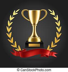 odizolowany, emblemat, złota filiżanka, wektor, nagroda, tło, trophy., laurels, zwycięzca, realistyczny, 3d, wstążka