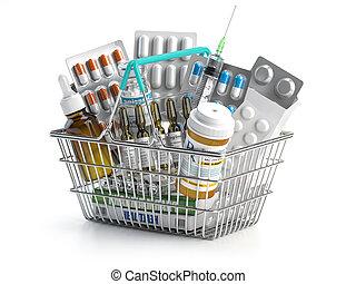 odizolowany, kosz, white., pełny, szczepionka, zakupy, leki, pigułki, pęcherze