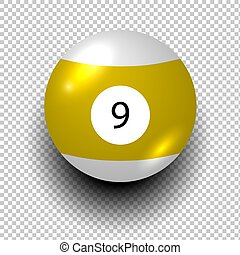 odizolowany, piłka, obiekt, tło, liczba, bilard, żółty, wiatr, 9., przeźroczysty, color.
