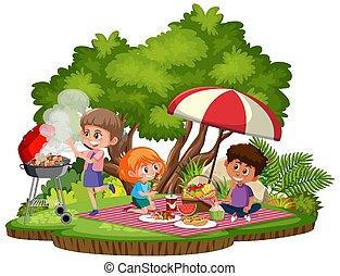 odizolowany, piknik, park, dzieciaki