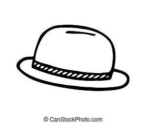 odizolowany, plażowy kapelusz, wektor, białe tło