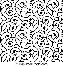 odizolowany, seamless, orientalny, tło, kwiatowy, czarnoskóry