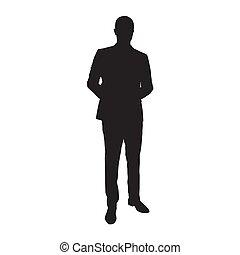 odizolowany, silhouette., wektor, garnitur, biznesmen, człowiek
