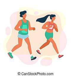 odległość, długi, prąd, marathon., współzawodnictwo, ludzie, grupa
