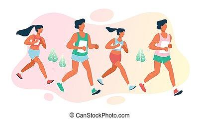 odległość, grupa, marathon., ludzie, współzawodnictwo, prąd, długi