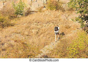odludny, ścieżka, człowiek hiking, góra
