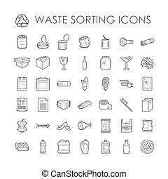 odpadki, powinowaty, tracić, wyodrębnienie, komplet, recycling, szkic, sortowanie, icons.