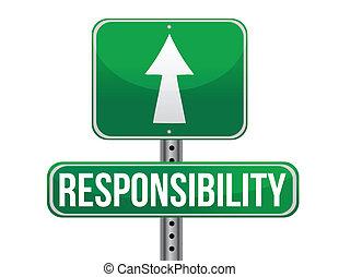 odpowiedzialność, projektować, droga, ilustracja, znak