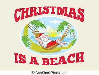 odprężając, claus, ojciec, święty, plaża, boże narodzenie