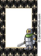 odważny, średniowieczny, miecz, rycerz, ułożyć, tło