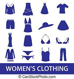 odzież, komplet, eps10, ikona, womens
