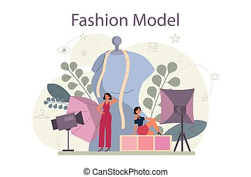 odzież, nowy człowiek, fason, kobieta, przedstawiać, wzór, concept.