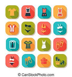 odzież, płaski, fason, ikony