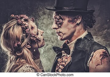 odzież, pieszy, opuszczony, zombie, cemetery., para, romantyk, ślub, ubrany