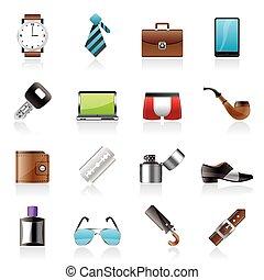 odzież, samiec, przybory, ikony