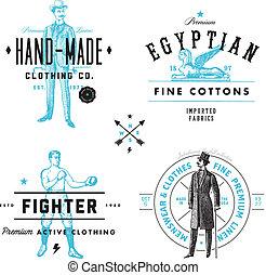 odznaka, etykieta, komplet, odzież, wektor, rocznik wina