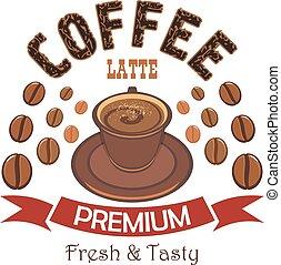 odznaka, kawa, łata, premia, filiżanka