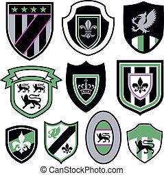odznaka, klasyk, emblemat, królewski, element