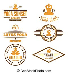 odznaka, komplet, emblemat, klub, rocznik wina, logotype, elementy, yoga, albo, logo