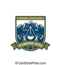odznaka, na wolnym powietrzu, projektować, przygoda, obozowanie