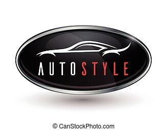 odznaka, wóz, sylwetka, pojazd, lekkoatletyka, logo, chrom, pojęcie