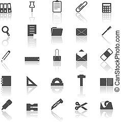 odzwierciedlać, biały, stacjonarny, tło, ikony