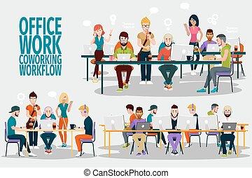 ofiice, groupe, praca