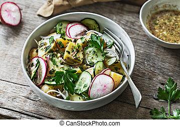 ogórek, kartofel, rzodkiewka, sałata