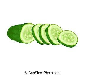 ogórek, zielony, wektor, juiced, pokrojony, element., roślina, świeży