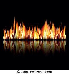 ogień, czarnoskóry, płomień, tło, płonący