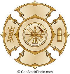 ogień dział, krzyż, złoty, rocznik wina